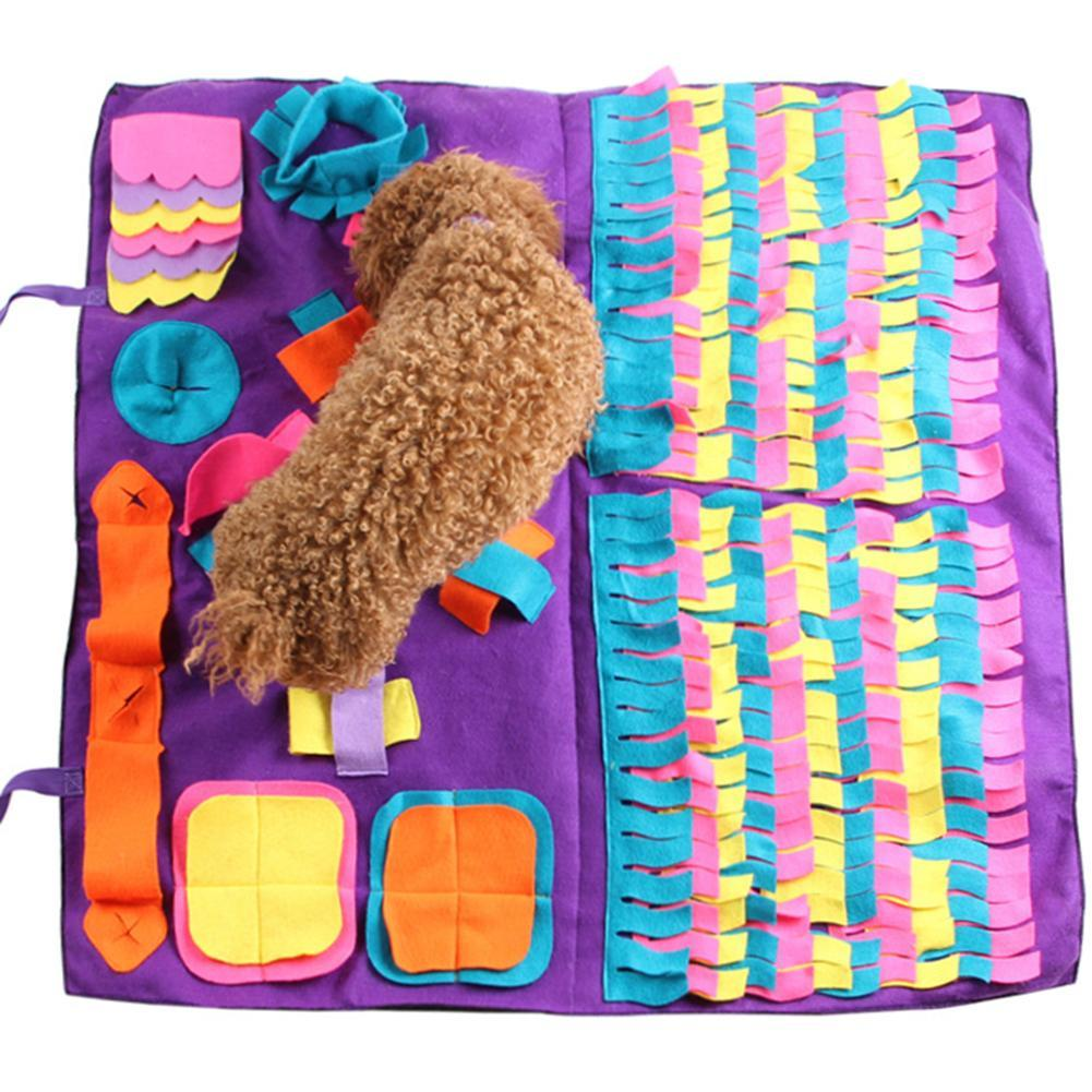 Blanket Pet Dog Snuffle Mat Pet Sniffing Formação destacável Velo Pads Dog Mat aliviar o stress nosework enigma Toy Pet Pad Nose