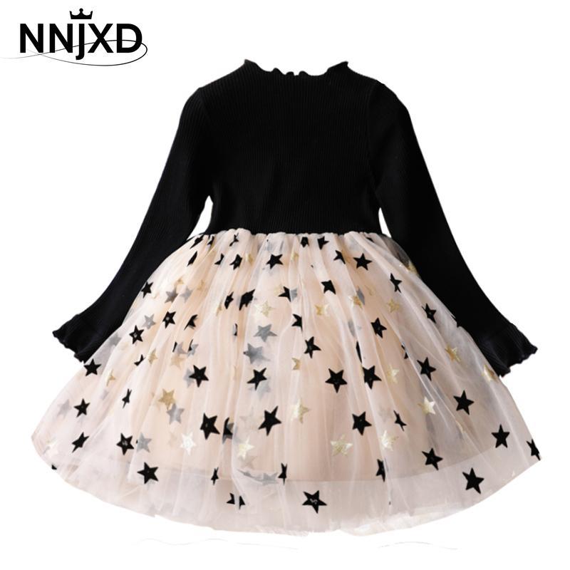 Outono meninas vestido de malha manga comprida meninas inverno vestido estrela impressão malha tutu vestidos crianças menina natal para