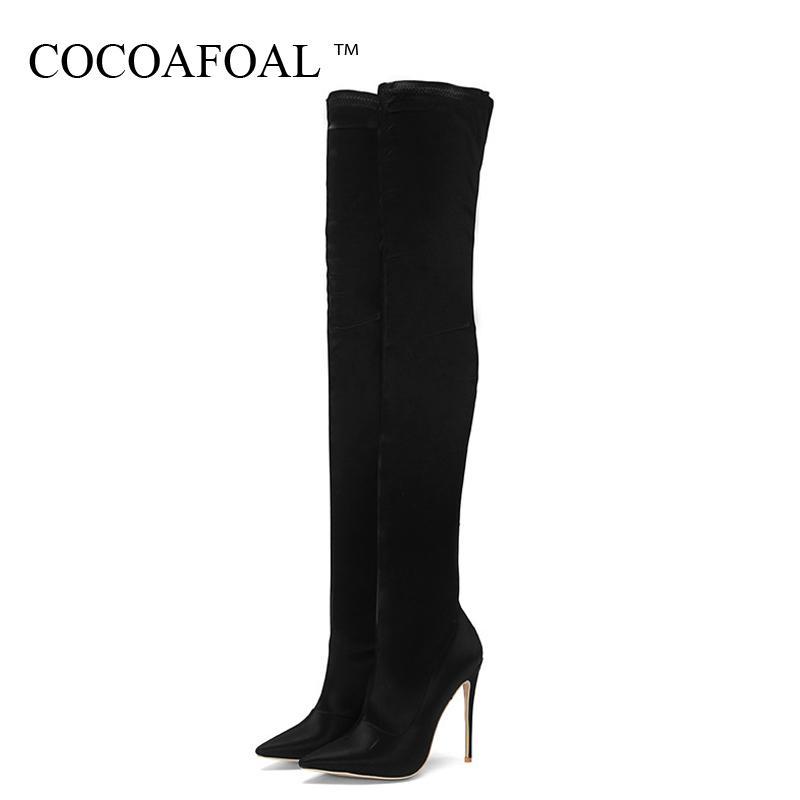 Stivali sopra il ginocchio delle donne sexy COCOAFOAL Stivali Donna Alta Alta stivali autunno inverno Plus Size Flock sopra il ginocchio della coscia