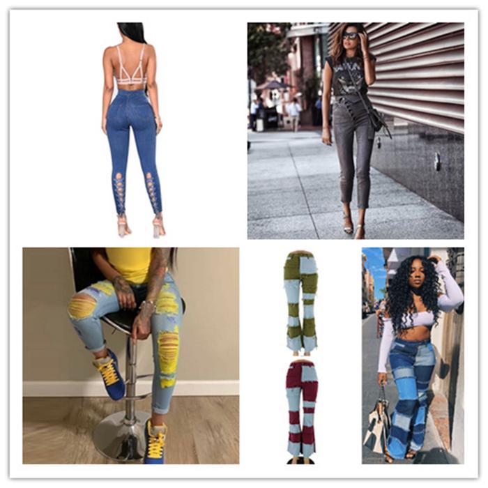 Womens Blue Designer Pencil Pants Spring Summer Jeans Fashion Bind Legging High Waist Denim Ladies Sexy Skinny Clothing