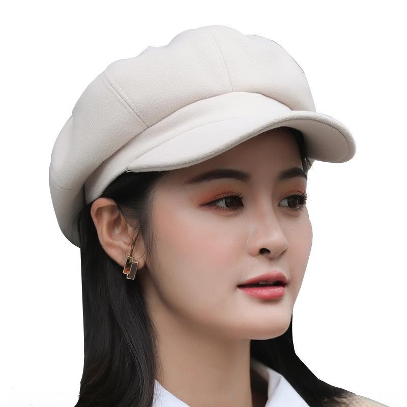 kRqnV 9423 otoño y el invierno al estilo coreano lana octogonal gorro puntiagudo de Beret mujeres de color sólido de la boina británica gorra de plato desnuda las mujeres de moda