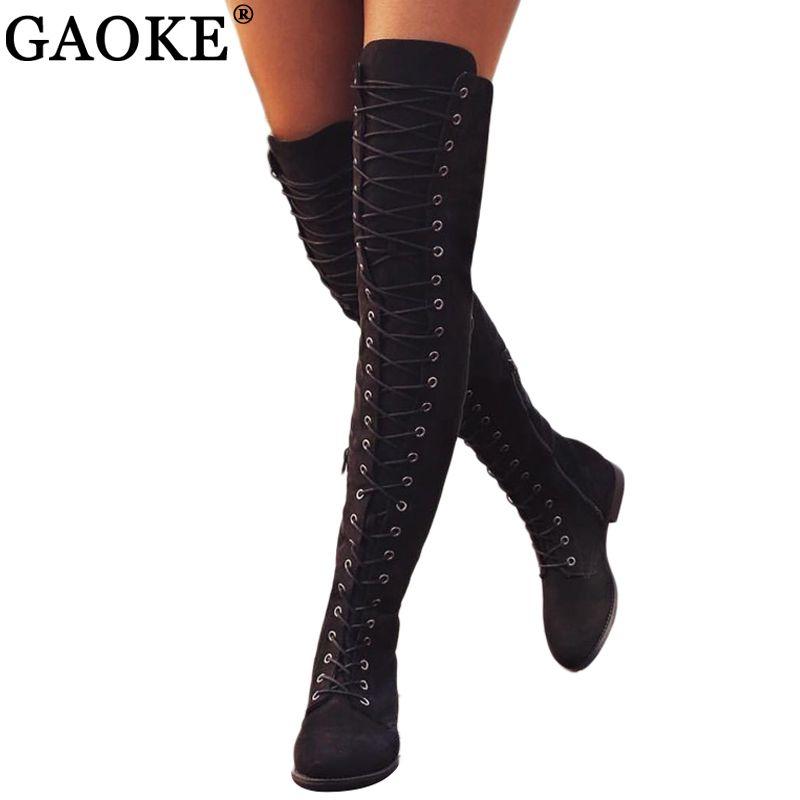 Sexy lacez Plus de Bottes genou Bottes femme Chaussures Flats en caoutchouc talon carré Flock Botas hiver Cuissardes 34-43