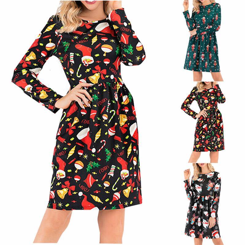 las mujeres Venta caliente de lujo de Navidad vestidos de dama Plus tamaño de la manga larga atractiva ocasional vestidos vestidos de ropa de otoño