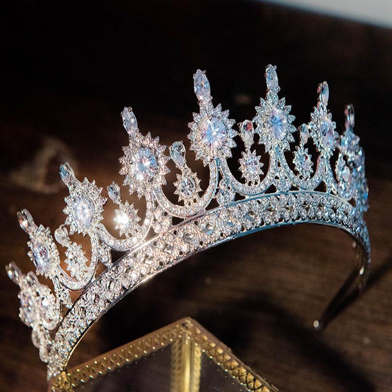 Luxury gioielli di moda capelli spettacolo sposa Wedding Tiara partito del copricapo Splendido zircone strass Corona fascia Headpeice LB