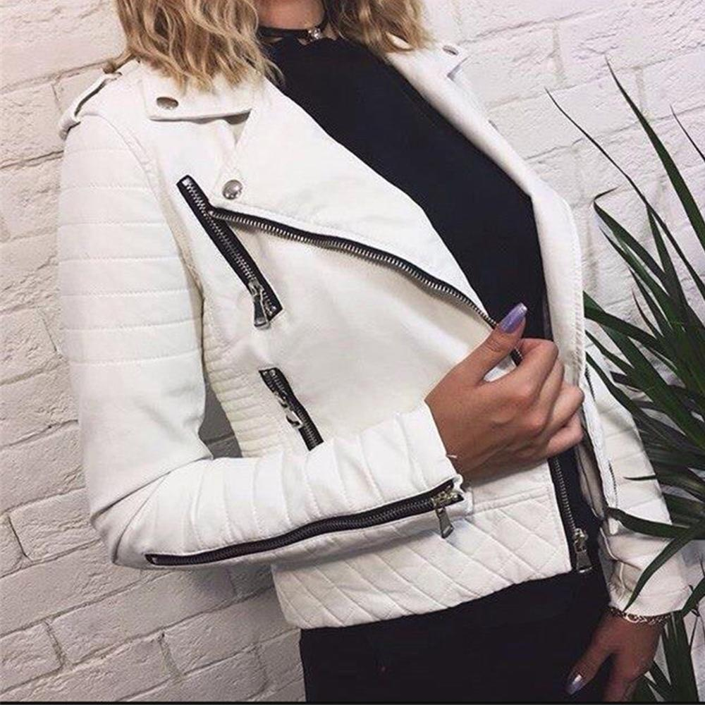 Women's Leather Jacket Motorcycle Autumn Long Sleeve Zipper Soft Faux Leather Jackets White Ladies Female Coats Outerwear CX200812