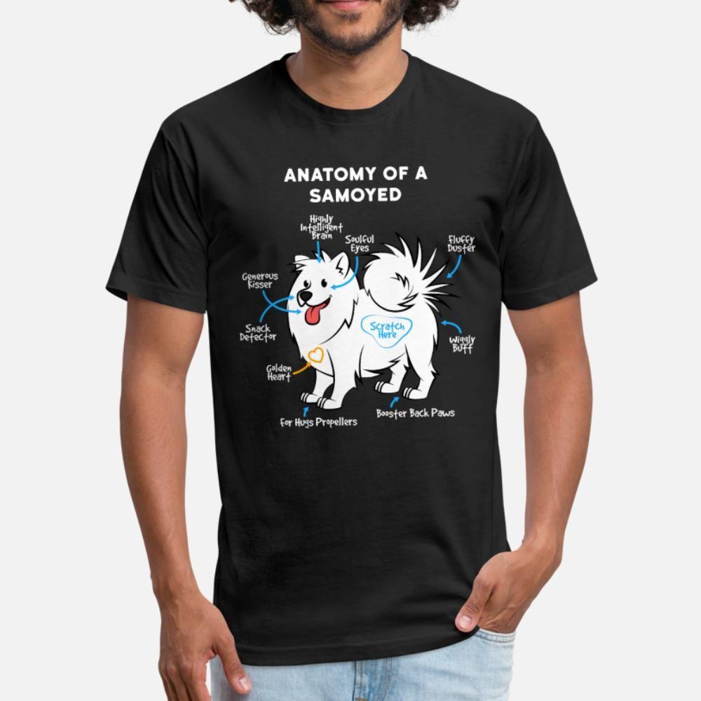 Perro Samoyedo hombres de la camiseta de impresión de algodón de cuello redondo tendencia de la moda camisa floja de la primavera Cartas