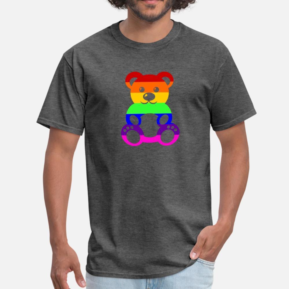 Orgulho Gay Teddybear t shirt homens criam camisa magro O manga curta do pescoço da novidade Presente do humor da Primavera