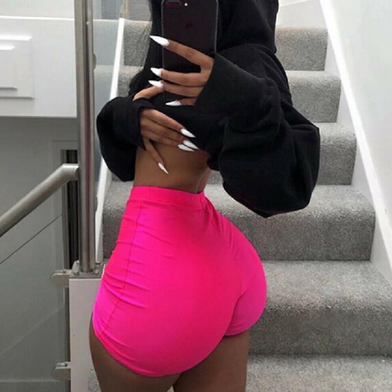 2020 إمرأة تمتد تدريب مشرفي السراويل تجريب دنة اللباس البسيطة القصيرة اليوغا السراويل عالية الخصر رياضة التمرين