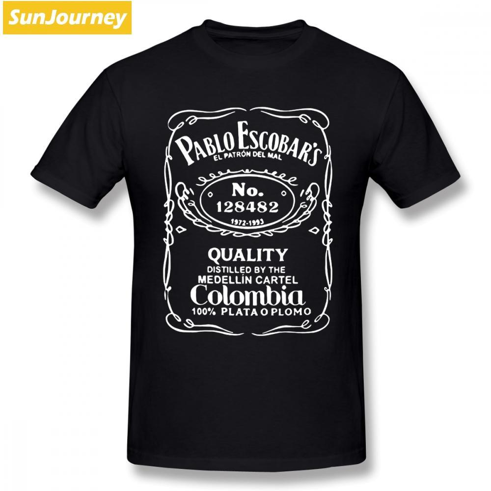 Narcos Pablo Escobar camiseta de los hombres de Hip Hop Llanura de gran tamaño de algodón de manga corta personalizada Ropa de la marca