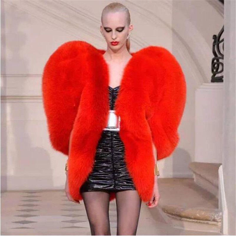 여성 모조 모피 빨간 사랑 3D 심장 모양의 목도리 가짜 여우 모피 따뜻한 코트 2020 가을 / 겨울 큰 사이즈는 S-3XL 패션 여성의 높은 품질을