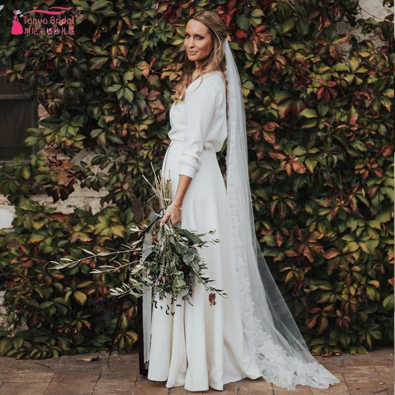 Простой красивый тосканские свадебные платья Интенсивно Romantic Страна Maxi Свадебных платья V-образный вырез Сплит Robe де ZW180 вечера