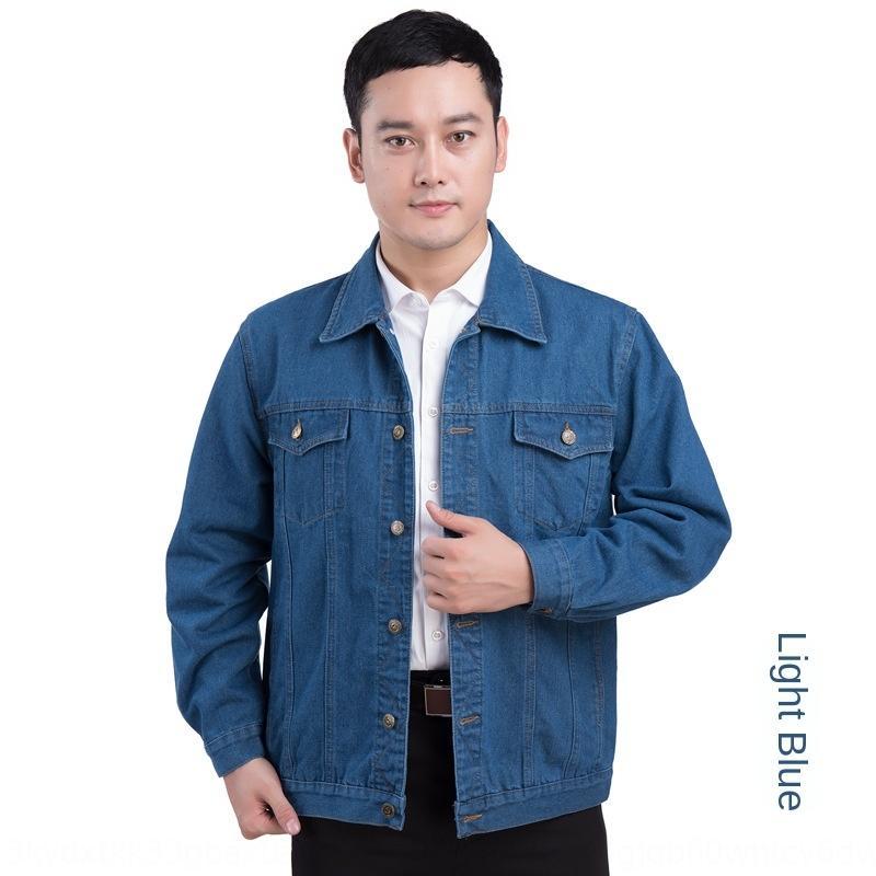 8kz0Y В весеннем хань высших и среднего возраст мужчины джинсовой куртки куртка пожилой отворот износостойкие Дианы осень-фу пальто