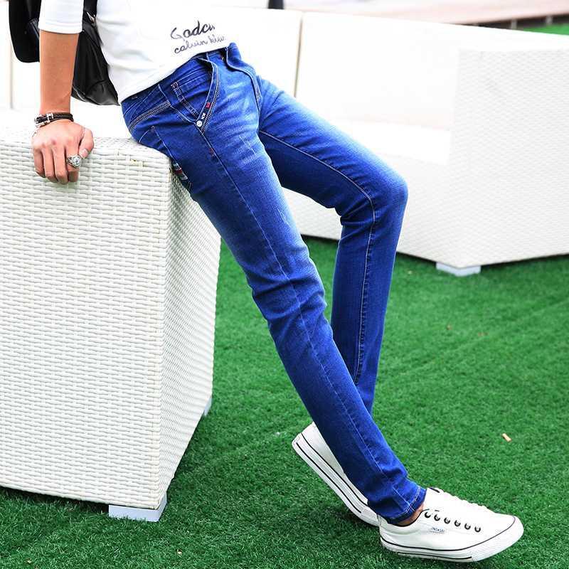 2020 novos homens de calças de ganga da moda casuais calças de brim pequeno trecho adolescente suaves calças de ganga 27-36