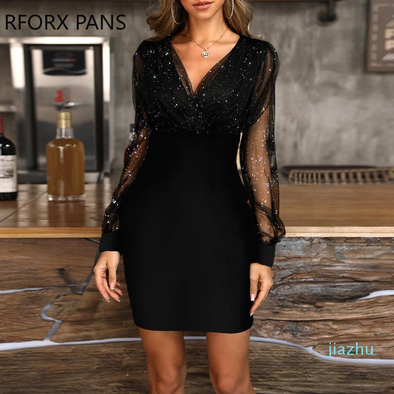 Vente Hot Party Glitter semi-transparent maille moulante à manches longues femmes robe