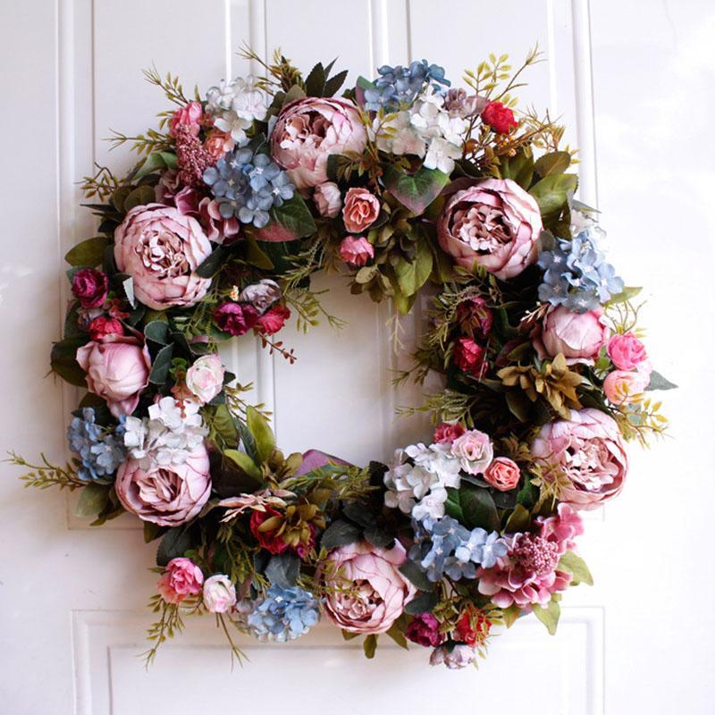 Das neue 22-Zoll-große künstliche Blumen-Kranz für Tür-Fenster-Wand Weihnachten Home Hochzeit Garten Dekoration