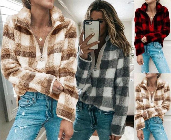 30pcs 3-Farben-Frauen Vlies Sherpa Sweater Plaid Sweatshirt Mode Pullover Beiläufige Frau Lattice Tops Kleidung M347 Jjrk #