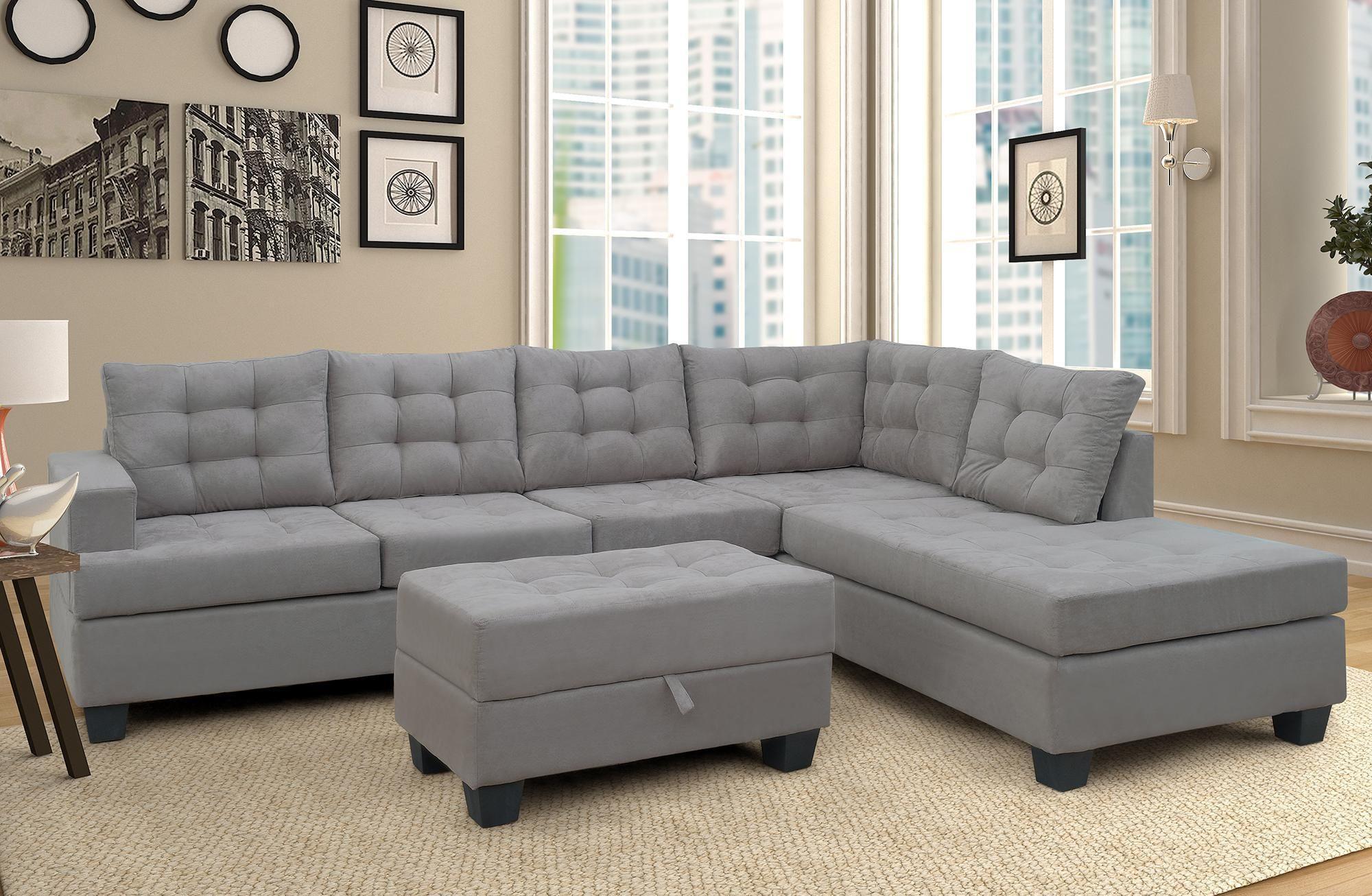 US Stock, Chaise Lounge 및 Storage Ottoman L Shape 소파 소파 거실 가구 (회색) SM000049EAA
