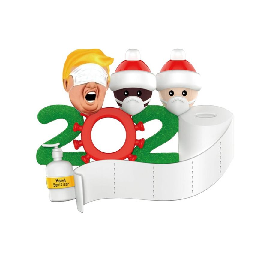Trump Санта рождественские украшения Силикон 2020 Карантин Рождественская елка DIY Имя с маской висит кулон DDA599