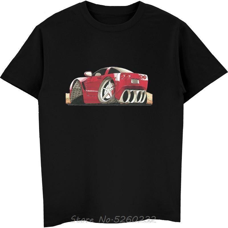 Летние мужские хлопок Топы Тис тенниска Corvette C5 Печатный Koolart мультфильм автомобиля Смешные Печать футболки Streetwear