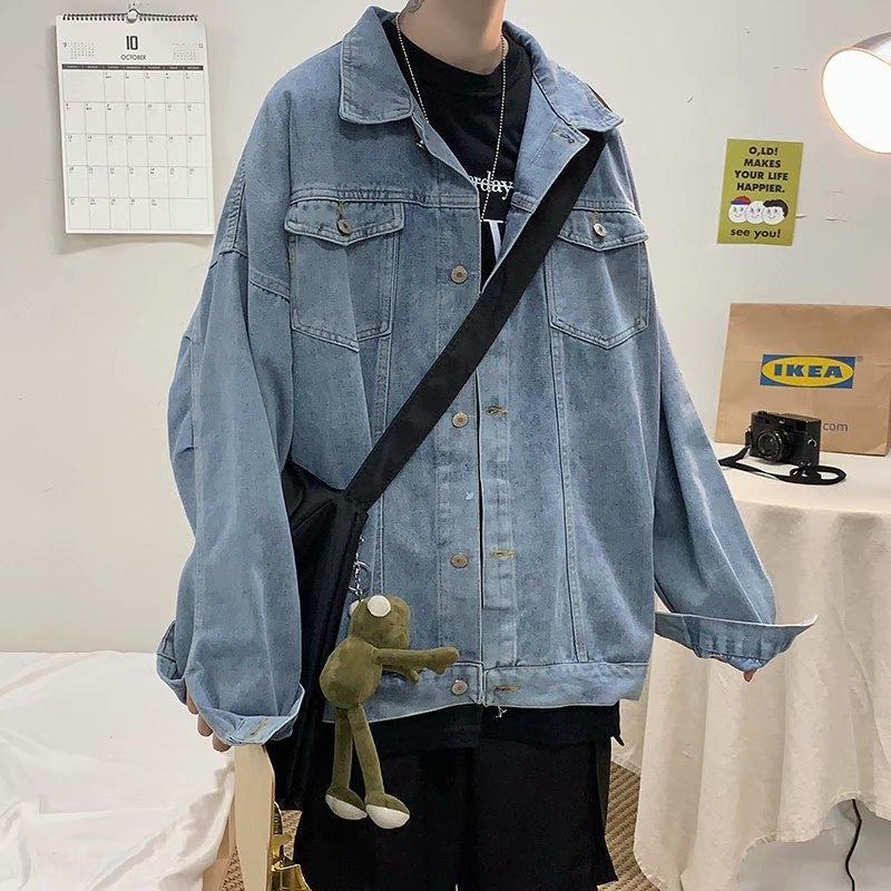 bRQ97 W9qSf осень корейских джинсовый мужской весна и Harajuku стиля модного рыхлый пара всего-матч стиль куртки шикарный красивый пиджак