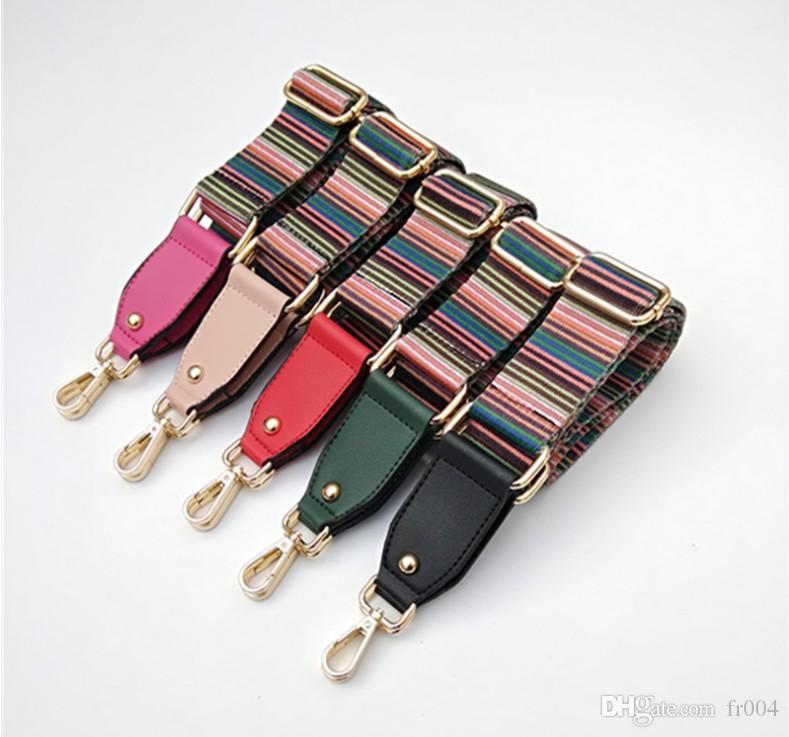 2020 Farbige Beutel-Bügel für Crossbody Ersatz Gürtel Gestreifte Frauen Tasche Zubehör Kette Nylon-Schultergurt Tasche Fittings