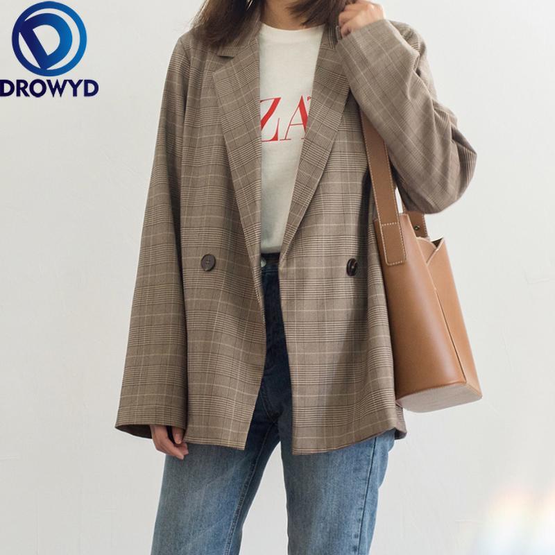 여성 브라운 격자 무늬 블레이저 코트 2020 새로운 패션 레이디 사무 양복의 포켓 재킷 코트 캐주얼 느슨한 긴 소매 팜므 블레이저 CX200819 탑
