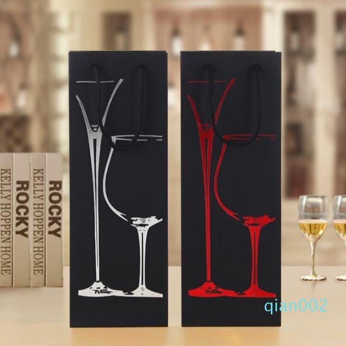 Складная красное вино Прочный мешок легко носить Пакет сумки Черный картон Подарок Случай верхнего качества SN1039