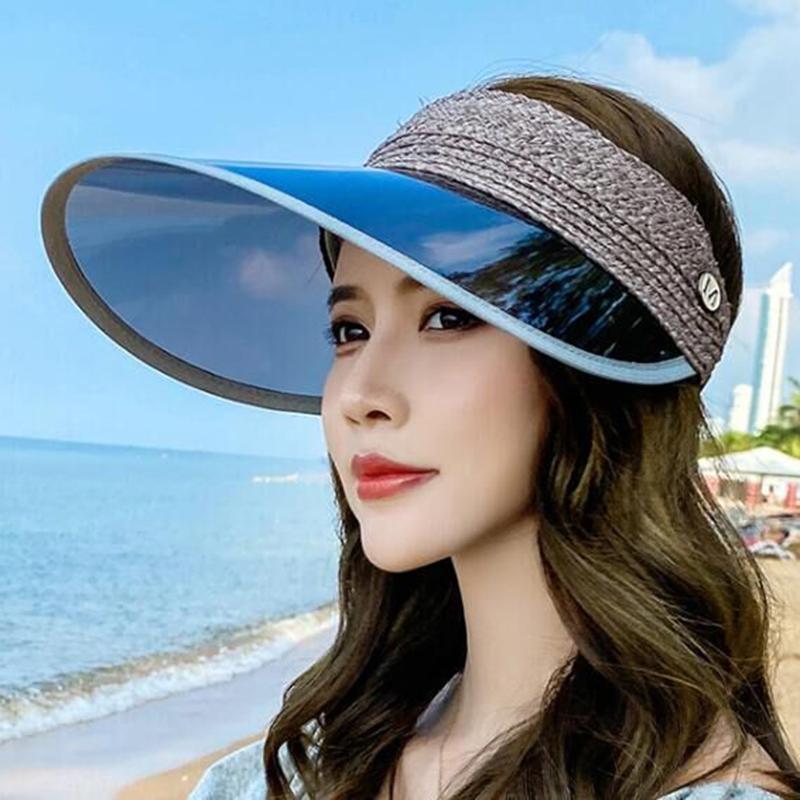 Лафит Стро Brand New Summer Empty Top Козырьки Cap Складные Широкий Большой Брим Sun Hat Бич Шляпы для женщин соломенной шляпе Оптовая Ch