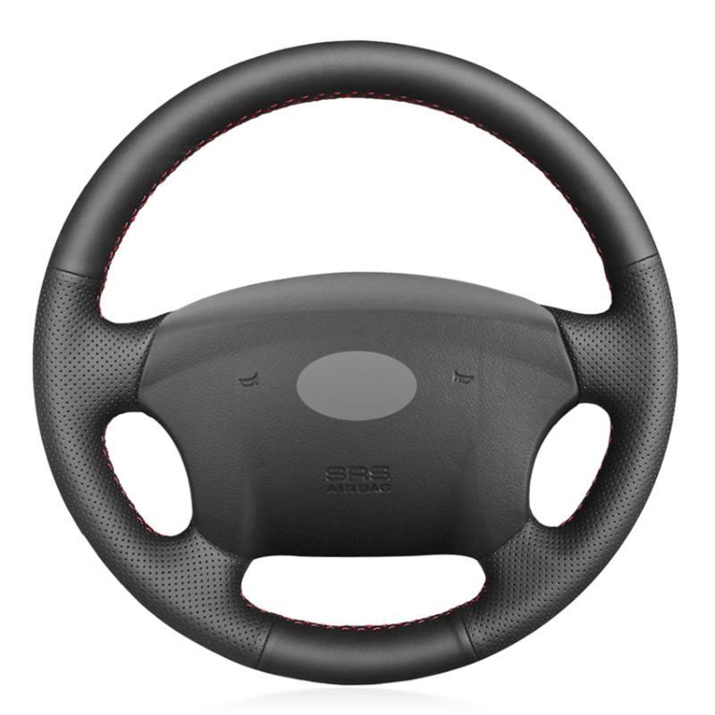 In pelle nera PU Faux Steering fai da te auto Wheel Cover per Azera 2005-2010 Sonata NF NFC 2005-2010 Kia Carens 2007-2011