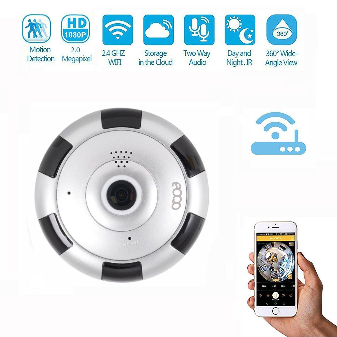 Kablosuz Kamera Panoramik 360 Derece 200W Piksel Wifi Ağ Cep Telefonu Uzaktan Kart Gözetleme Kamerası Beyaz Çember