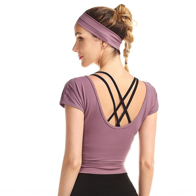 2020 Frühling und Sommer neue Kleidung der Frauen sexy Schönheit zurück Kleidung Yoga-Kleidung Fitness Laufen Top Yoga suitclothing Seite Schulter Jujube