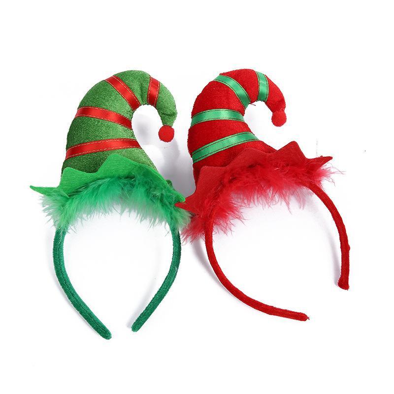 Nouvelle corne chapeau rayé plume hairband cadeau la veille de Noël