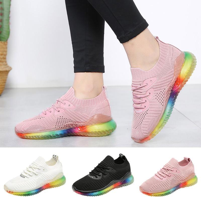 piatta arcobaleno tendenza scarpe da donna suole gelatina testa rotonda scarpe sportive passeggiate all'aria aperta tessuto traspirante casuale AYAKKABI # 15