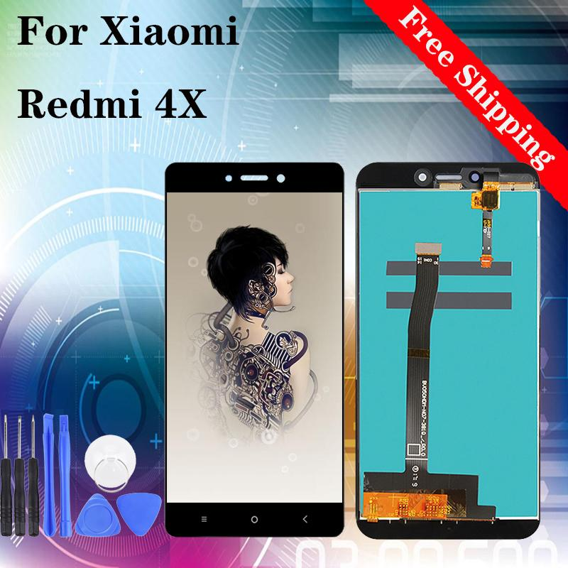 "5.0 ""LCD ذات نوعية جيدة لXIAOMI Redmi 4X شاشة LCD تعمل باللمس استبدال محول الأرقام الجمعية أسود أبيض"