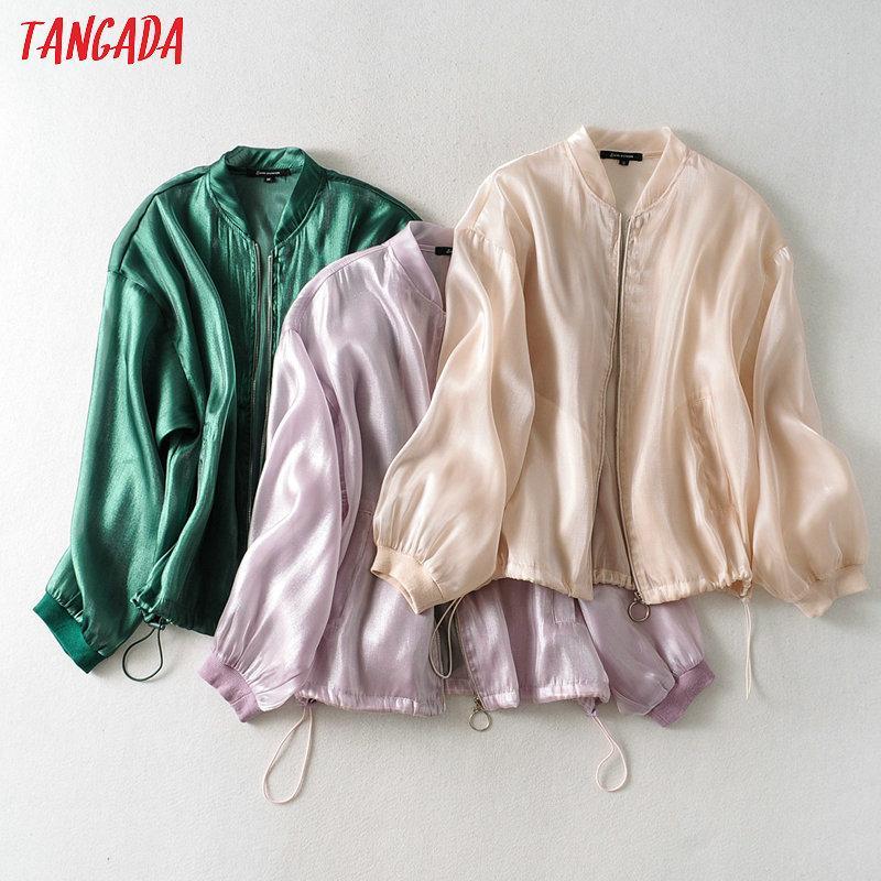 Tangada Donne vedere attraverso cappotto solida cerniera signore a maniche lunghe sciolto oversize cappotto JA41