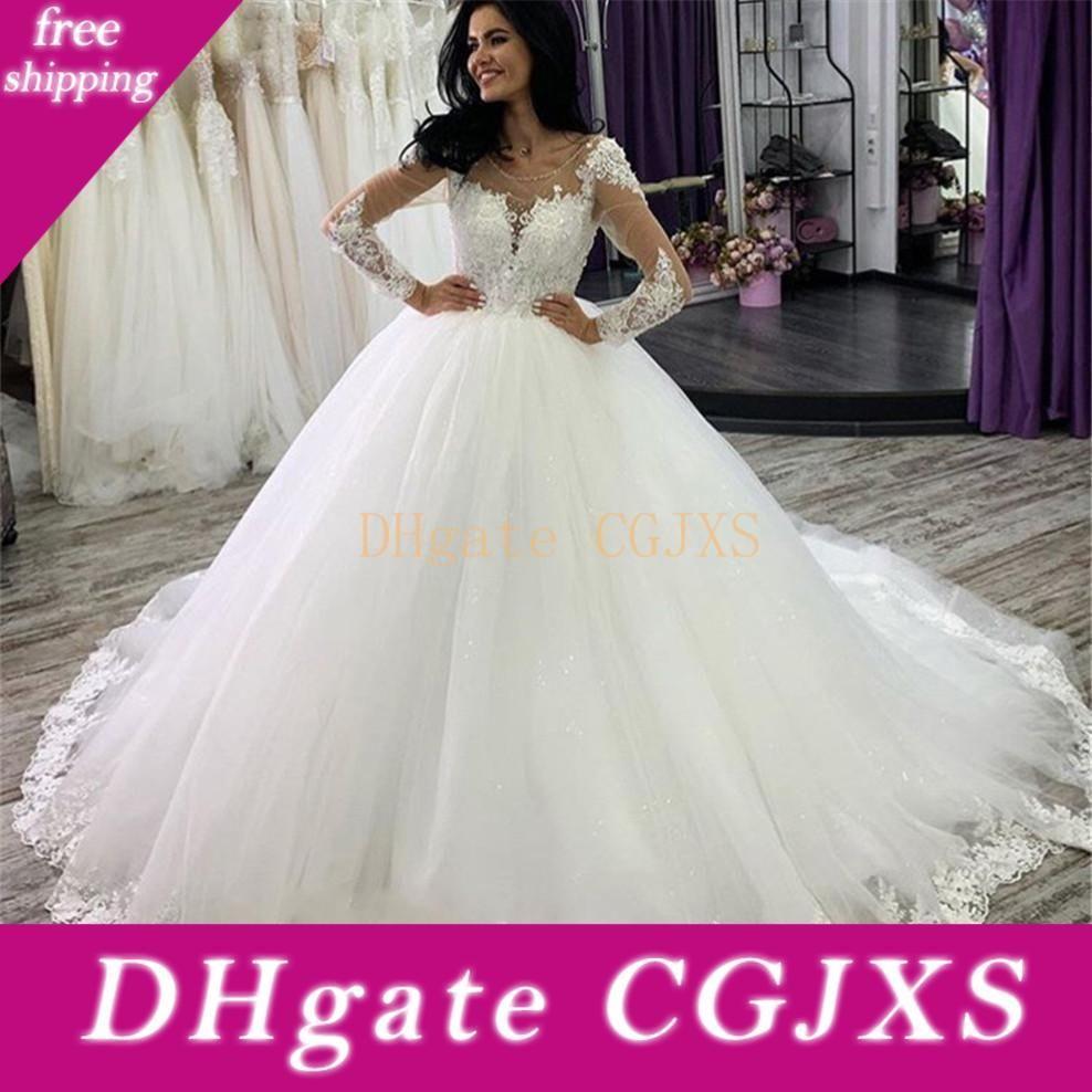 Luxuosa do laço vestido de baile vestidos de casamento Sheer pescoço mangas compridas apliques vestido de casamento vestidos de noiva Vestidos de novia Robes De Mari EE
