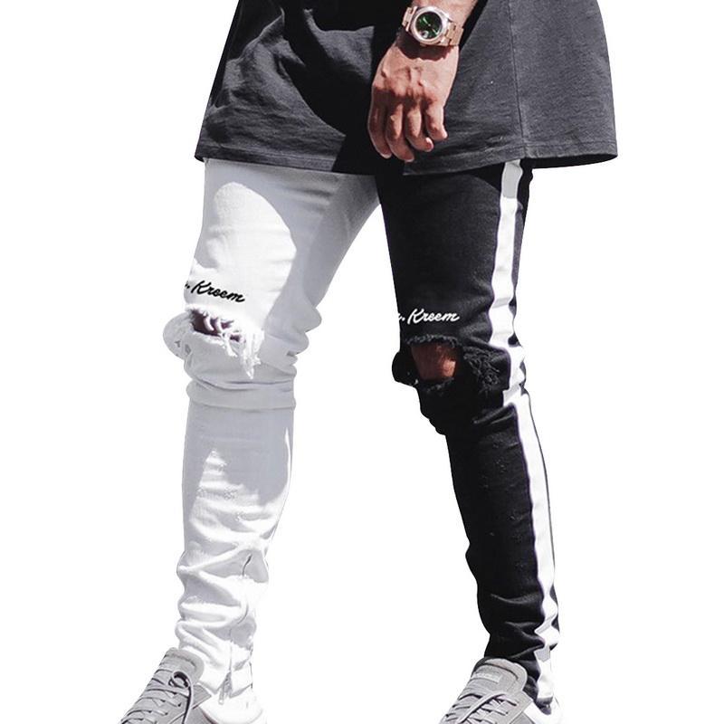 Adisputent 2020 Stretch Джинсовые брюки Solid Slim Fit джинсы Мужчины Повседневная Denim Jeans Мужчины Street Hip Hop Винтаж брюк Тощий Pant