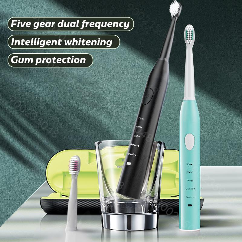 Sonic Electric Toothbrush Best 5 Modes Rechargeable USB + 4 Replacement Heads Waterproof Timer Tooth Brush Whitening for Adults T200901