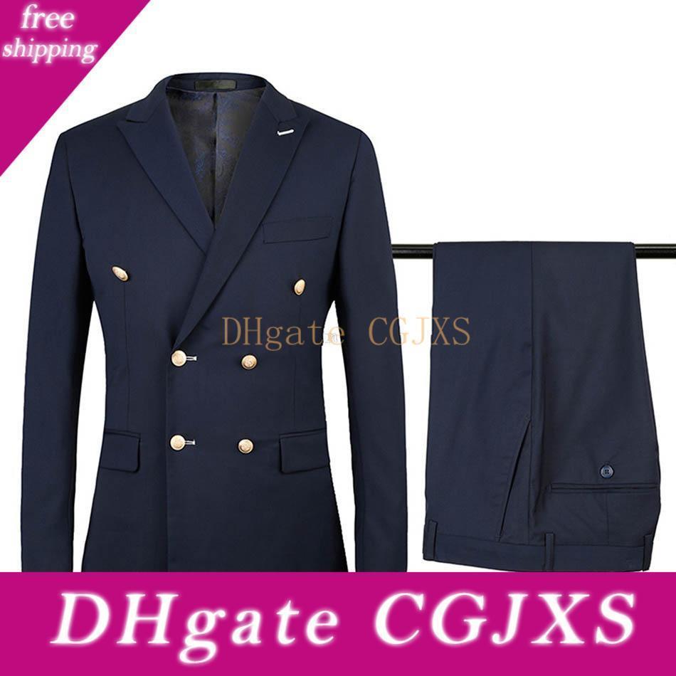 New Side Vent Double Breasted Beige /Navy Blue /Black /Blue Wedding Groom Tuxedos Peak Lapel Groomsmen Mens Suits (Jacket Pants Tie )251