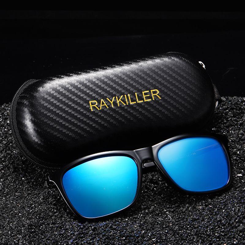Case New Square RAYKILLER Polarize Güneş Gözlüğü için Erkekler Parti Aynalı Balıkçılık Gözlük UV400 Sürüş Açık