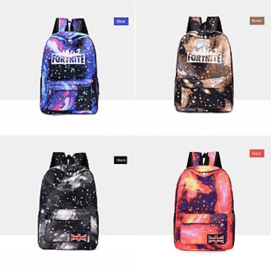 2020 New senhoras Oxford Cloth Fortnite Starry Sky Fortress Noite Backpack Estilo coreano cor sólida Grande Capacidade Mulheres DO Fortnite St # 354