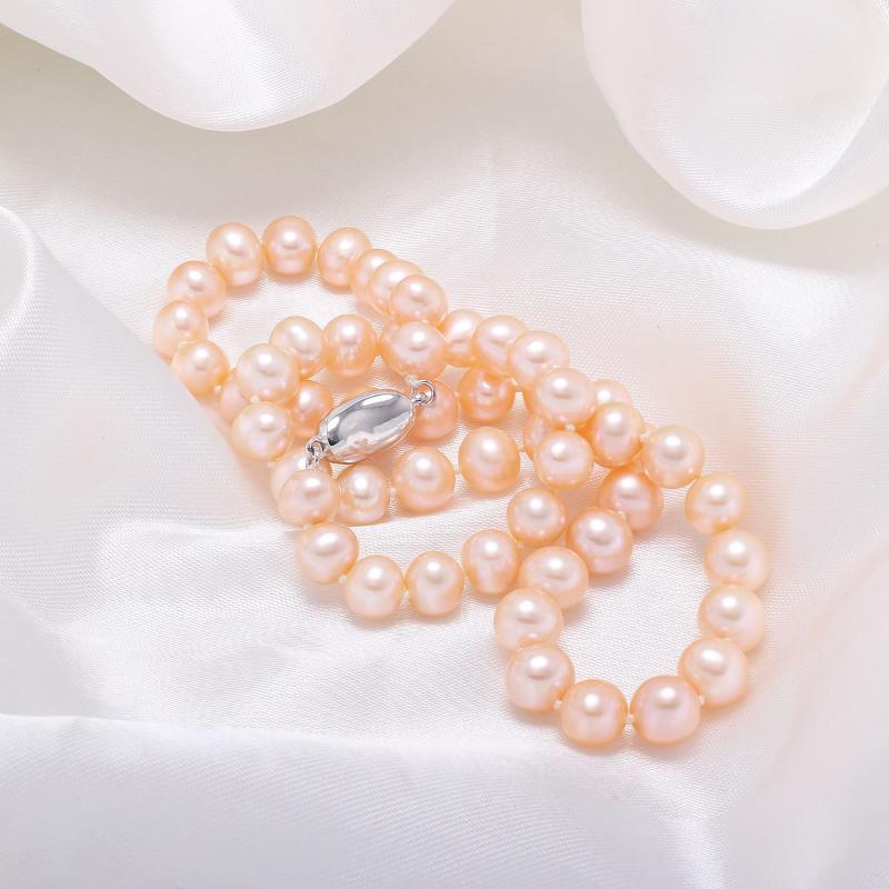 New Hot Sale Natural Elegant Beautiful Accessories Popular Fashion Cute Decoration 7-8mm Potato-shaped Pearl Necklace