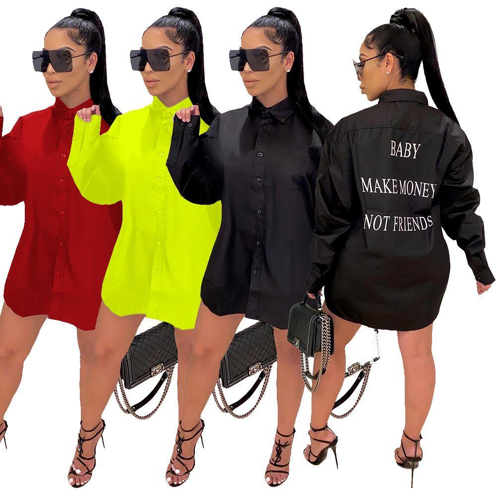 الأزياء رسالة مطبوعة المرأة القميص اللباس الطفل كسب المال ليس الأصدقاء رسالة طباعة بدوره إلى أسفل الرقبة كم طويل البلوزات قميص اللباس
