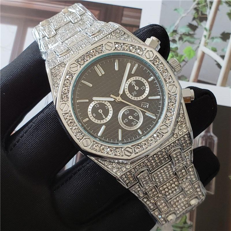 Audemars Piguet ap Männer Art und Weise Kristall Steel Uhr Bling Diamant Iced Out Uhren Luxus-Designer-Quarz-Bewegungs-Partei Armbanduhr Königs Oak Offshore P9A4 #