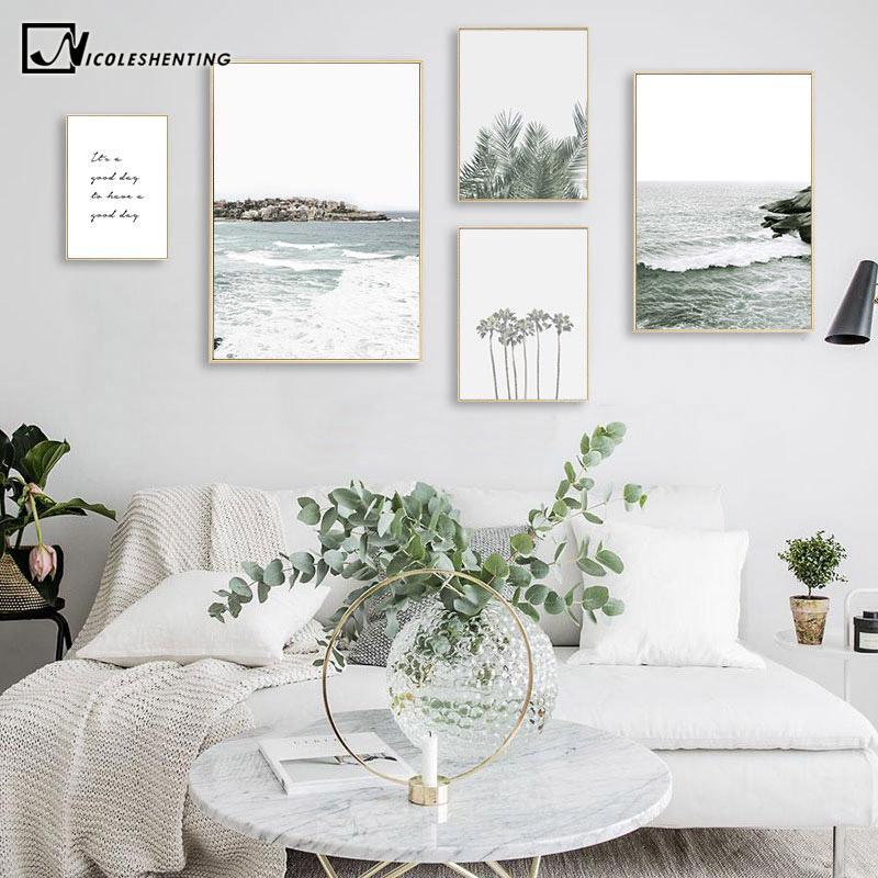Картины мотивационные цитаты пальмы листьев листьев картина скандинавский плакат северное украшение океан море печать пейзаж стена искусство холст роспись