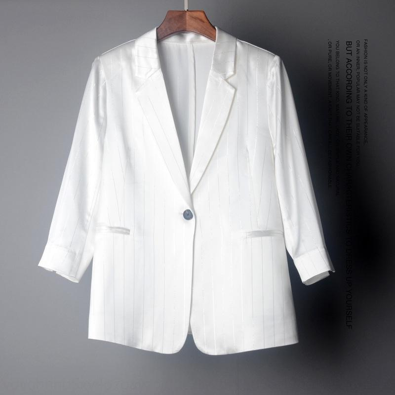 Ix2MM ceket Kadın büyük üst seviye rPWcU asetik asit takım kadın şerit mizaç uzun kollu ceket gc7037 gümüş sonbahar 2020 yılında