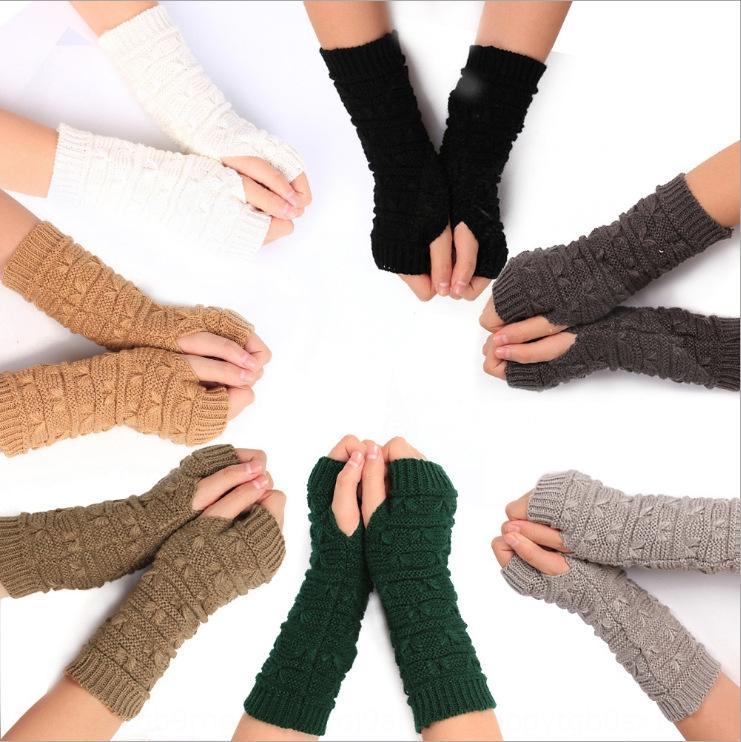De punto de lana de invierno cálido dedo medio otoño y el invierno de ordenador nuevos guantes y guantes calientes de las mujeres de la manga engrosadas