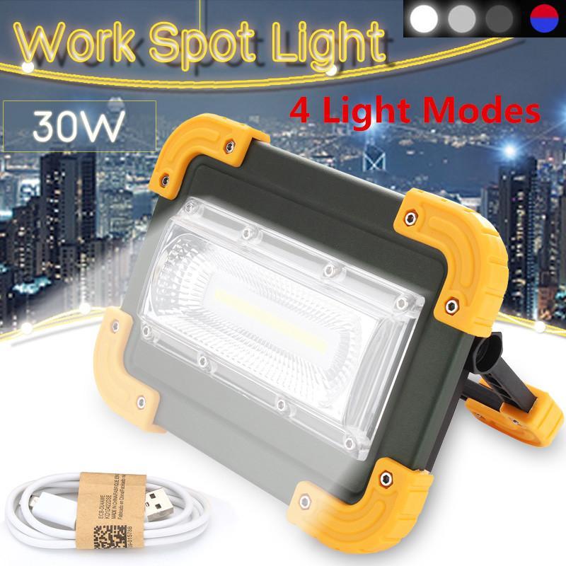 4 modos COB LED Trabalho Luz Projector carregamento USB Spotlight Outdoor Camping portátil Led Searchlight bateria recarregável