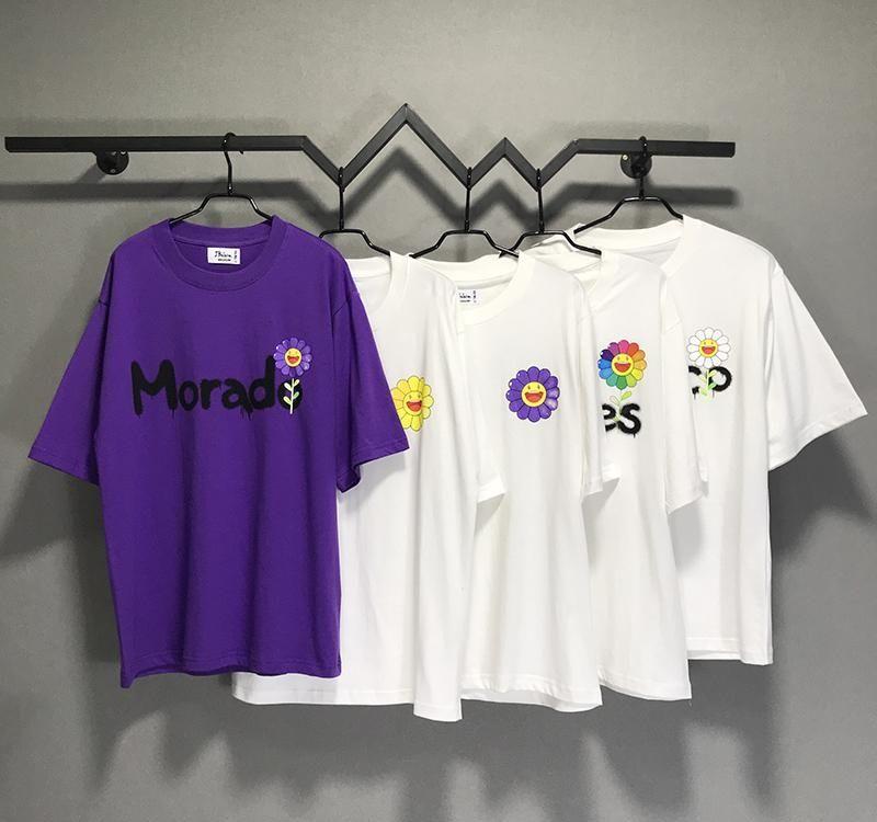 Sun flower J Balvin Takashi Murakami T-Shirt Men Women Couple Tees Oversized 100% Cotton T Shirt Men