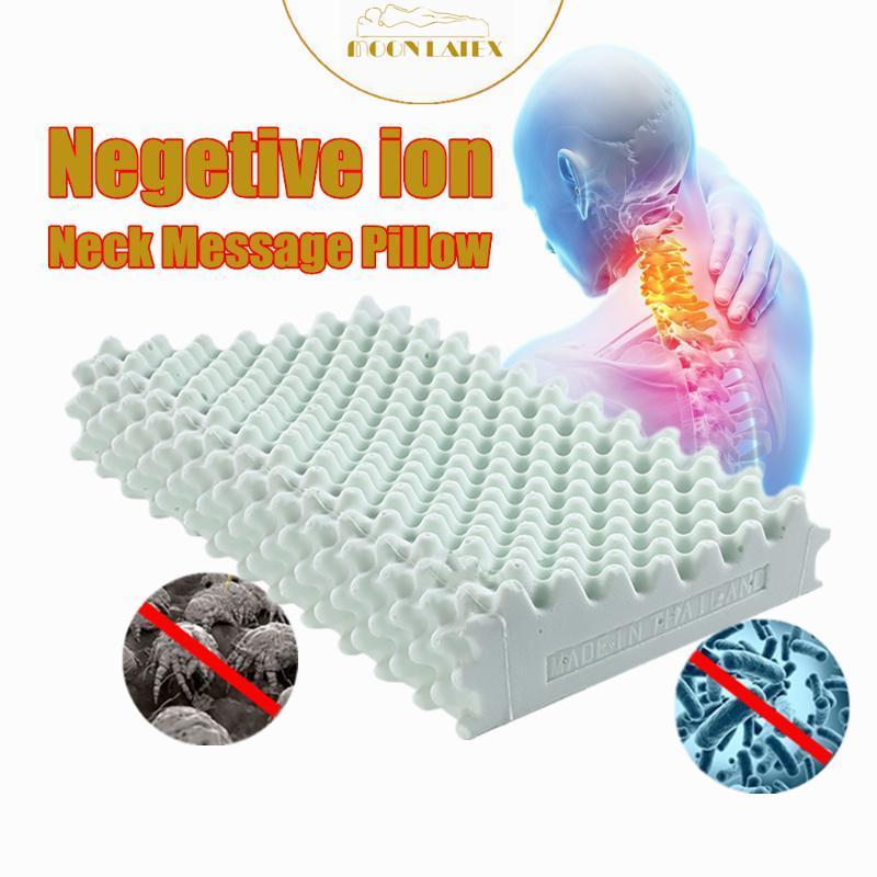 Подушка Moonlatex Thailand Оригинальный натуральный натуральный латекс здравоохранения позвонков ортопедическая физиотерапия отрицательный ион шеи массаж